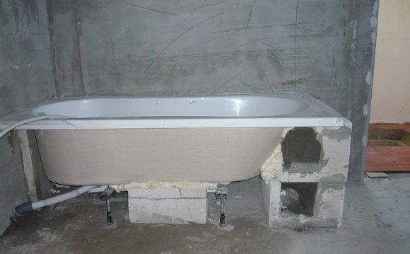 Крепление ванны при помощи
